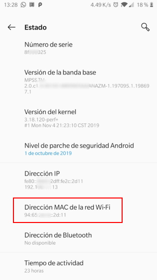 ver dirección mac del dispositivo
